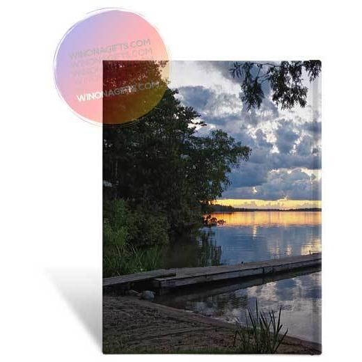 Hardcover Journal Pine Ridge Resort Sunset Deer Lake Minnesota - Kari Yearous Photography WinonaGifts KetoGifts LoveDecorah