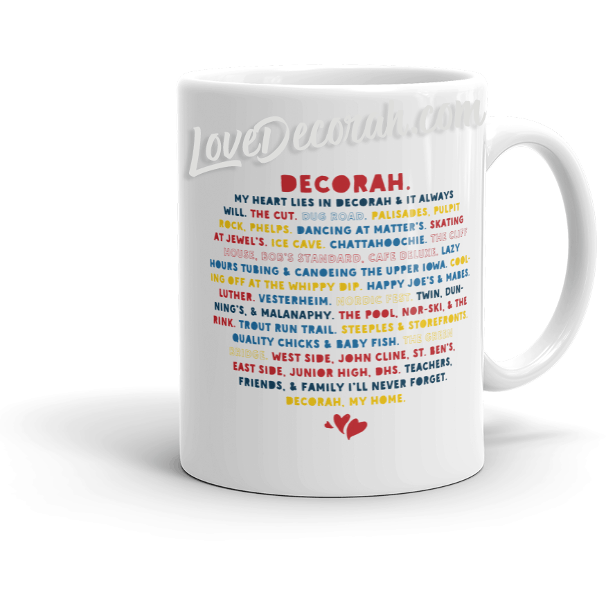 Mug Heart Lies In Decorah Chatahoochie & Trout Run Version - Kari Yearous Photography WinonaGifts KetoGifts LoveDecorah