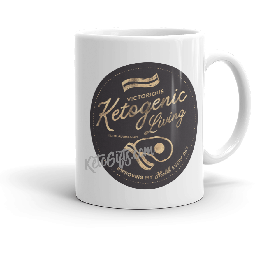 Keto Mug Victorious Keto Living Badge, Gold Look - Kari Yearous Photography KetoLaughs