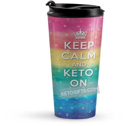 Keto Travel Mug Keep Calm and Keto On - Kari Yearous Photography KetoLaughs