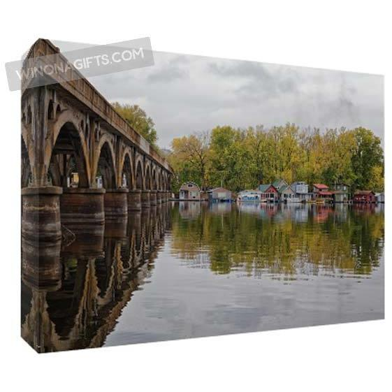 Latsch Island Boathouses Wagon Bridge Winona Minnesota, 5x7 Canvas Wrap - Kari Yearous Photography WinonaGifts KetoGifts LoveDecorah