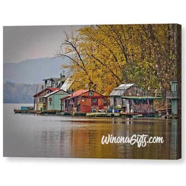 Autumn At Latsch Island Boathouses In Winona Minnesota - Canvas Print - Kari Yearous Photography WinonaGifts KetoGifts LoveDecorah