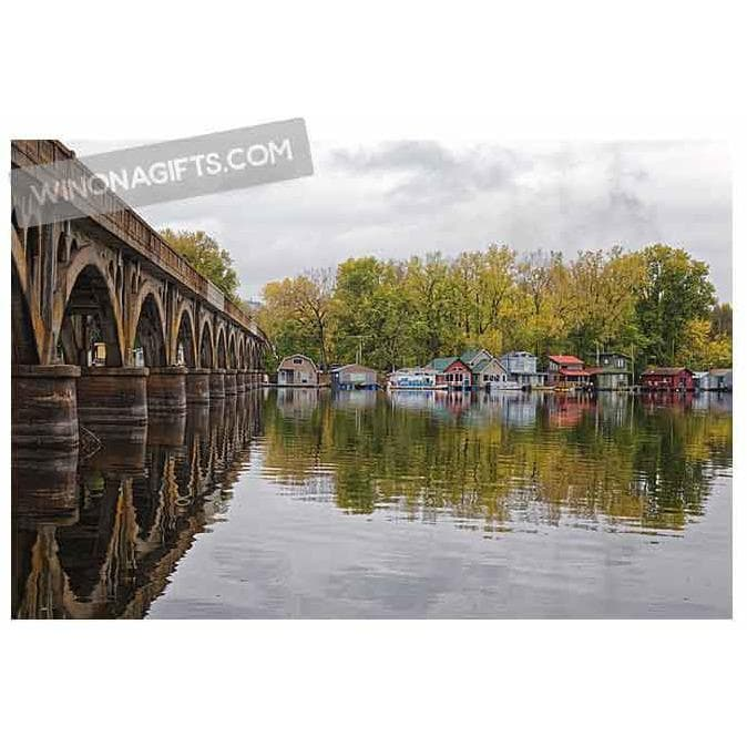 Winona Boathouses With Wagon Bridge Latsch Island - Art Print - Kari Yearous Photography WinonaGifts KetoGifts LoveDecorah