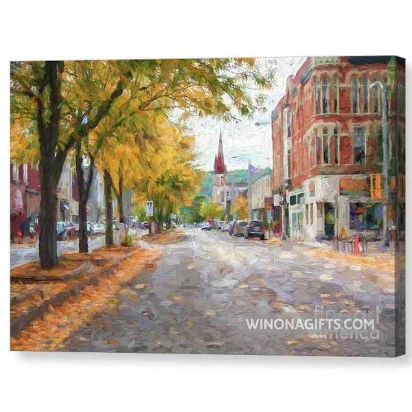 Main Street Downtown Winona Minn, Painting Style - Canvas Print