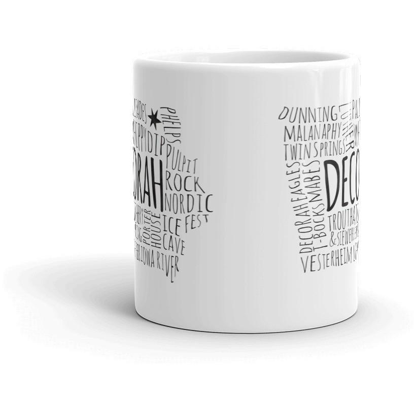 Decorah Mug Typography Map Text Only