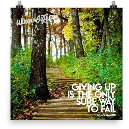 Inspirational Poster Giving Up Only Way To Fail - Kari Yearous Photography WinonaGifts KetoGifts LoveDecorah