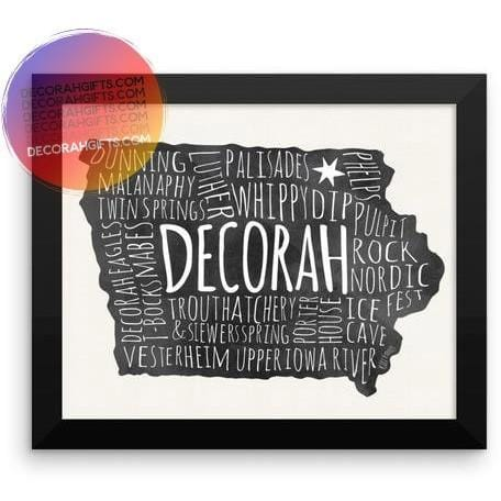 "Framed Decorah Poster Typography Points Of Interest, 8"" x 10"" - Kari Yearous Photography WinonaGifts KetoGifts LoveDecorah"