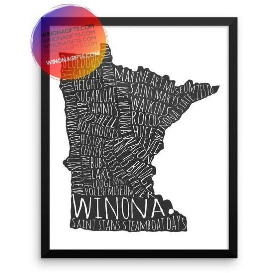 Framed Winona Minnesota Poster Typography Map, Black on White, 16x20