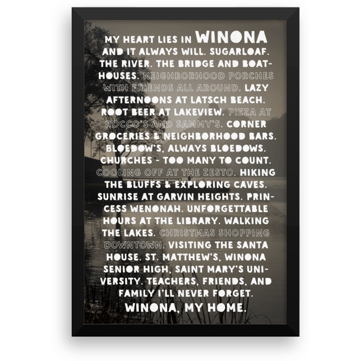 Framed Poster Heart Lies In Winona, SMU & St. Matthew's Version