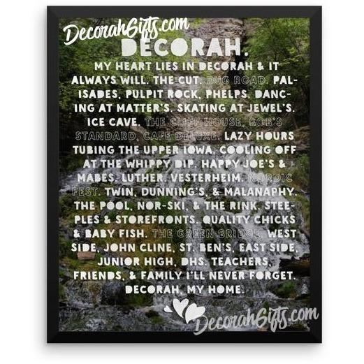 Framed Poster Dunning Springs with Heart Lies In Decorah Design - Kari Yearous Photography WinonaGifts KetoGifts LoveDecorah