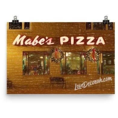 Poster, Mabe's Pizza in Decorah, Iowa - Digital Sketch - Kari Yearous Photography WinonaGifts KetoGifts LoveDecorah