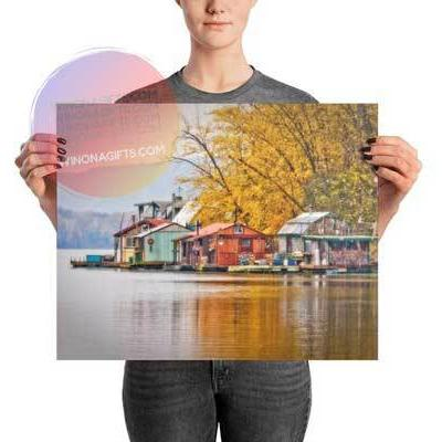 Winona Minnesota Boathouses Photo Print Autumn at Latsch Island
