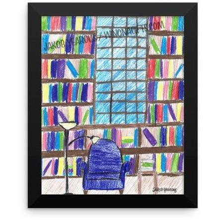 Framed Poster Library Scene by Jakob Yearous