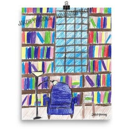 Library Books Bookworm Poster Kids Artwork for Sale
