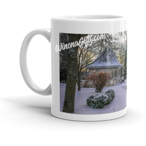 Mug Snowy Gazebo at Windom Park in Winona MN - Kari Yearous Photography WinonaGifts KetoGifts LoveDecorah