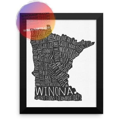 Framed Poster Winona MN Typography Map, 8x10
