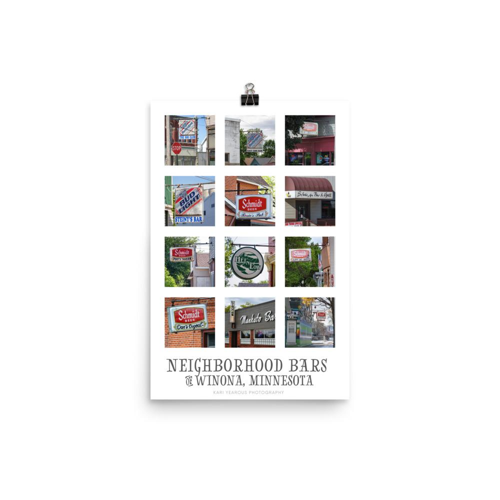 "Poster Neighborhood Bars of Winona Minnesota, 12"" x 18"" - Kari Yearous Photography WinonaGifts KetoGifts LoveDecorah"