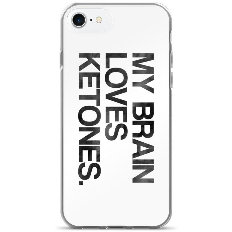 iPhone 7/7 Plus Case, Brain Loves Ketones Black Ink Look - Kari Yearous Photography KetoLaughs