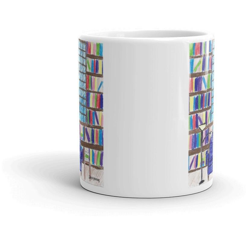 Book Lovers' Mug Library Scene - Kari Yearous Photography WinonaGifts KetoGifts LoveDecorah