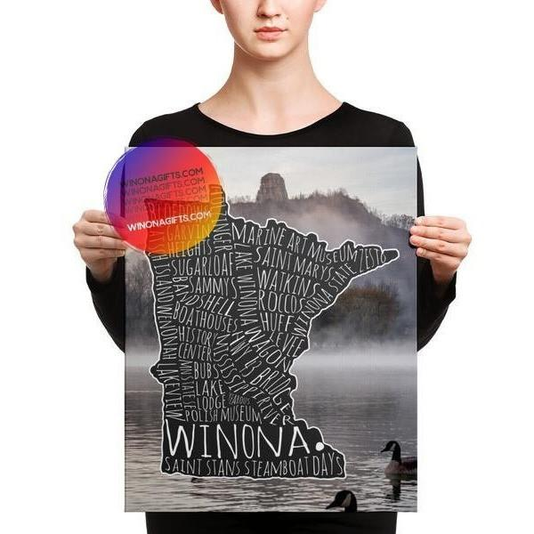 Canvas Wrap Winona Typography Map With Sugarloaf Geese, 16x20, Heavy Traffic