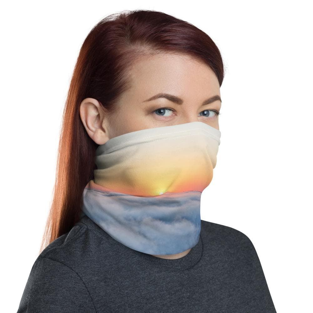 Neck Gaiter Garvin Heights Foggy Sunrise - Kari Yearous Photography WinonaGifts KetoGifts LoveDecorah