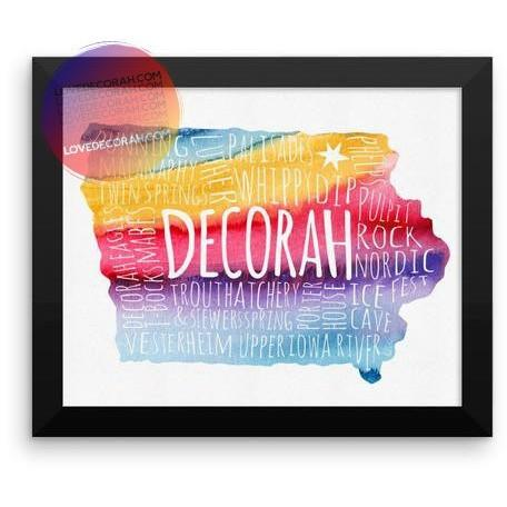 "Framed Decorah Poster Typography Map Watercolor, 8"" x 10"" - Kari Yearous Photography WinonaGifts KetoGifts LoveDecorah"