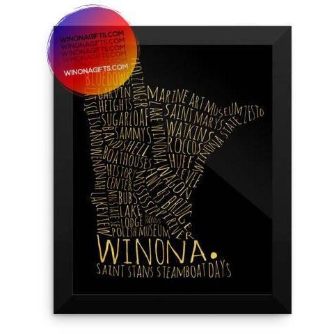 Framed Winona Poster Typography Map, Gold  Look On Black, 8x10 - Kari Yearous Photography KetoLaughs