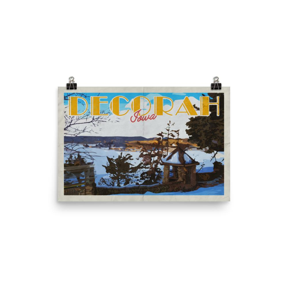 "Decorah Iowa 12"" x 18"" Poster, Phelps Park Overlook Vintage Travel Poster"