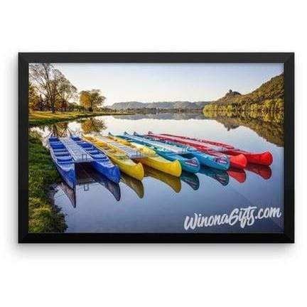 Framed Poster Canoes in the Early Morning Winona Minnesota - Kari Yearous Photography