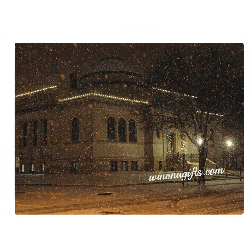 "Canvas Wrap 18"" x 24"" Winona Public Library Snowy Night - Kari Yearous Photography WinonaGifts KetoGifts LoveDecorah"