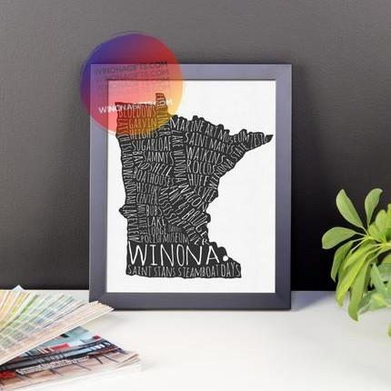 Framed Poster Winona MN Typography Map, 8x10 - Kari Yearous Photography KetoLaughs