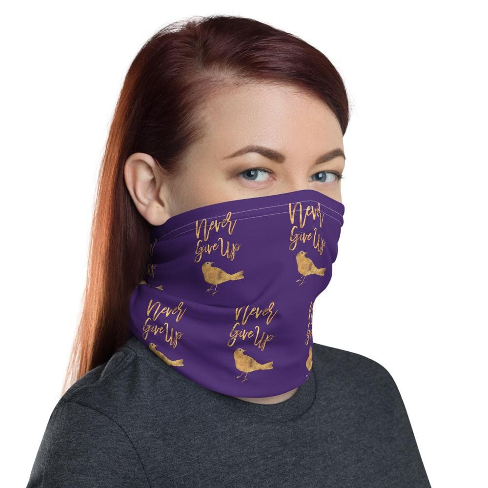 Neck gaiter Never Give Up Gold-Look on Purple - Kari Yearous Photography WinonaGifts KetoGifts LoveDecorah