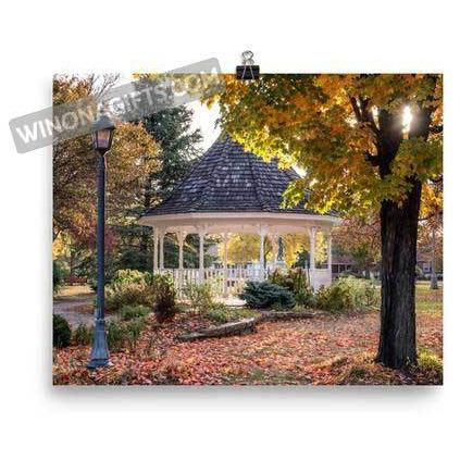 Winona Minnesota Photograph Windom Park Gazebo in Fall - Kari Yearous Photography WinonaGifts KetoGifts LoveDecorah