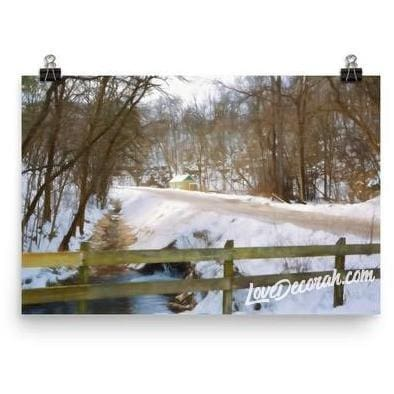 Poster Twin Springs with Road in Decorah, Iowa, Digital Sketch - Kari Yearous Photography WinonaGifts KetoGifts LoveDecorah