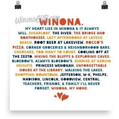 Square Poster My Heart Lies In Winona, Public Schools, Bold Colors