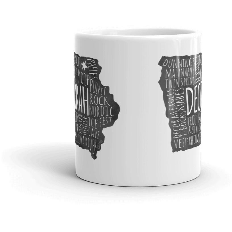 Decorah Iowa Mug Points Of Interest Typography DEACTIVATED - Kari Yearous Photography WinonaGifts KetoGifts LoveDecorah