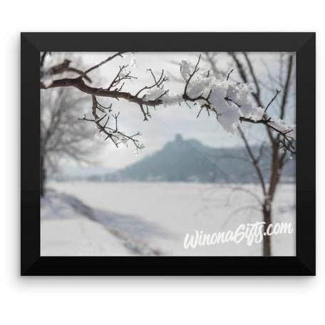 Framed Winona MN Poster Hoarfrost With Sugarloaf