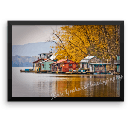 "Framed poster 12"" x 18"" Autumn At Latsch Island Boathouses - Kari Yearous Photography KetoLaughs"