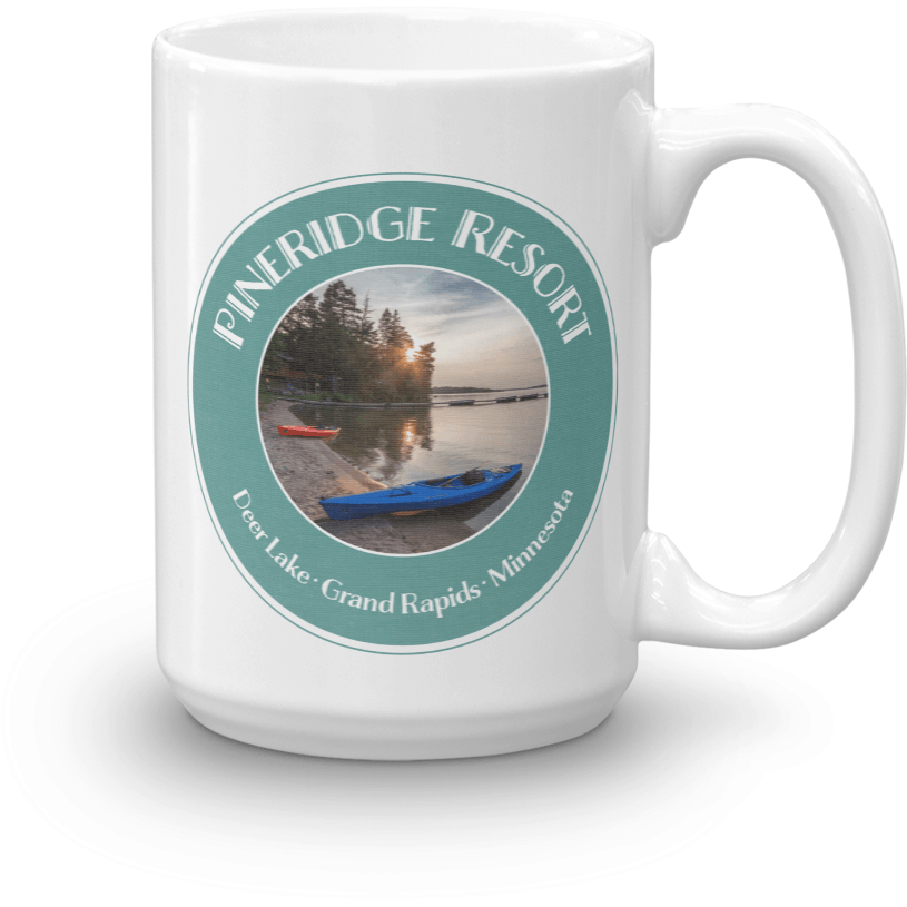 Mug Pineridge Resort Deer Lake Badge, Color Version - Kari Yearous Photography WinonaGifts KetoGifts LoveDecorah