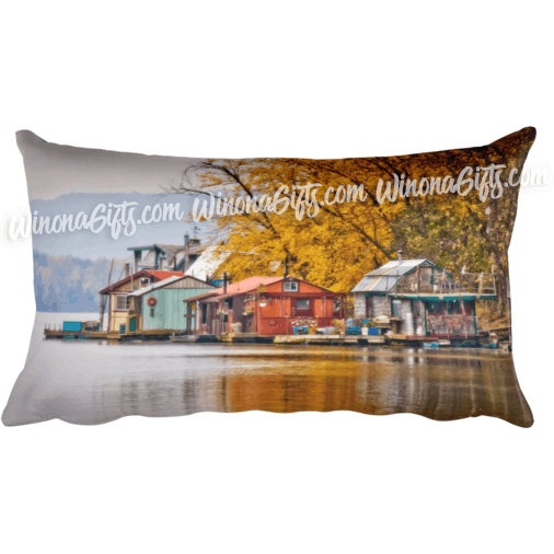 autumn at latsch island boathouses pillow winona minnesota