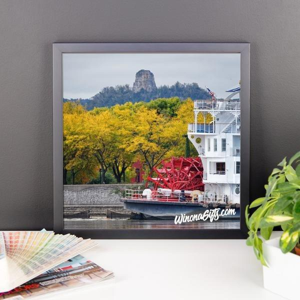 Framed Poster Sugarloaf Winona with Paddlewheeler - Kari Yearous Photography WinonaGifts KetoGifts LoveDecorah