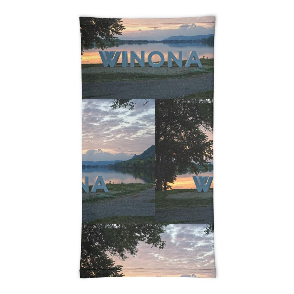 Winona Minn. Big Letters Neck Gaiter Face Covering - Kari Yearous Photography WinonaGifts KetoGifts LoveDecorah