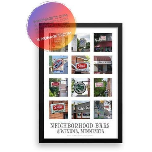 Framed Poster Neighborhood Bars of Winona Minnesota - Kari Yearous Photography WinonaGifts KetoGifts LoveDecorah
