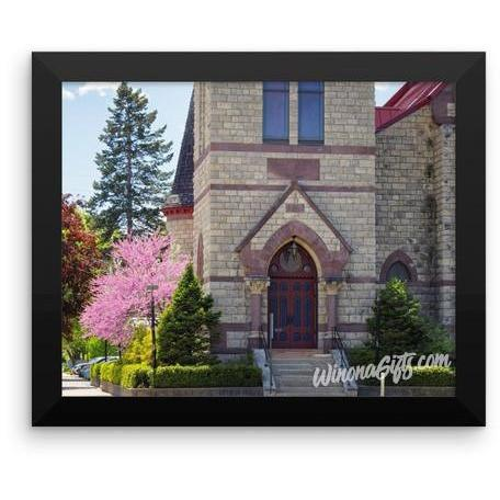 Framed Winona Minnesota Poster Church in Springtime - Kari Yearous Photography WinonaGifts KetoGifts LoveDecorah