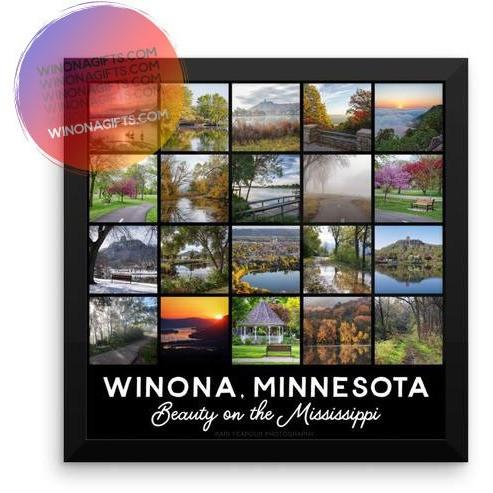 Framed Poster Winona Minnesota Square Photo  Collage - Kari Yearous Photography KetoLaughs