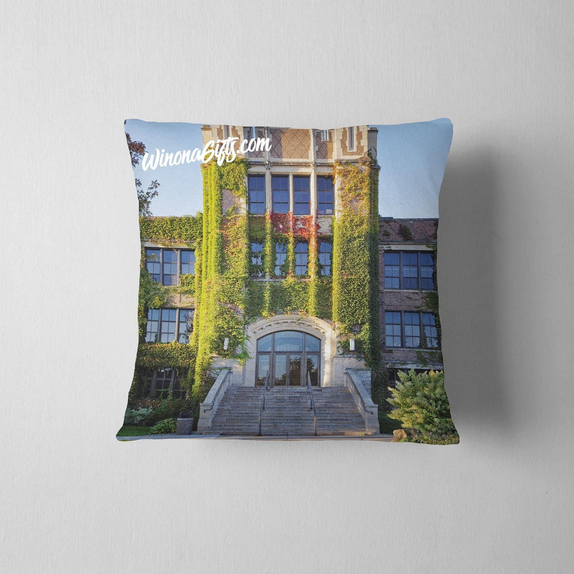 Pillow Winona State University Somsen Hall - Kari Yearous Photography WinonaGifts KetoGifts LoveDecorah