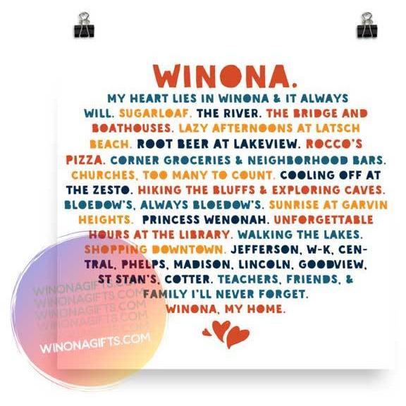 Winona Minnesota Poster My Heart Lies in Winona, Public & Private Schools