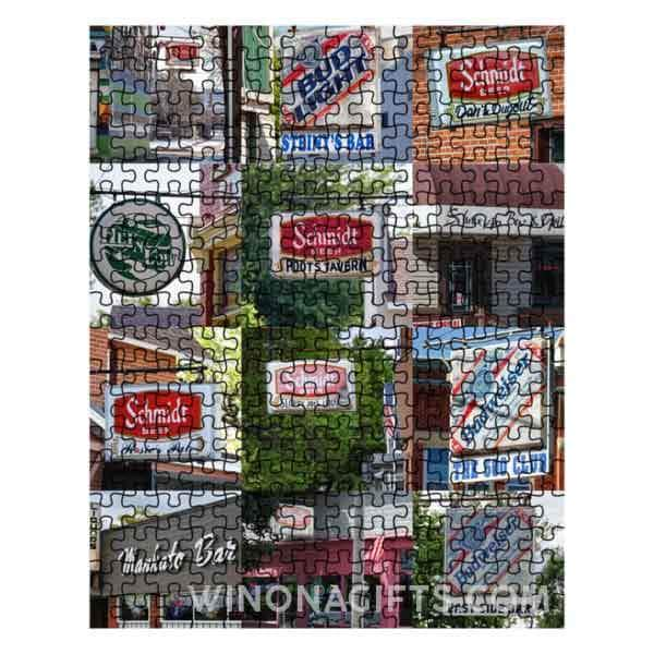 Bars of Winona Minnesota Jigsaw Puzzle with Mankato Bar, Hei N Low, Dan's Dugout - Kari Yearous Photography WinonaGifts KetoGifts LoveDecorah
