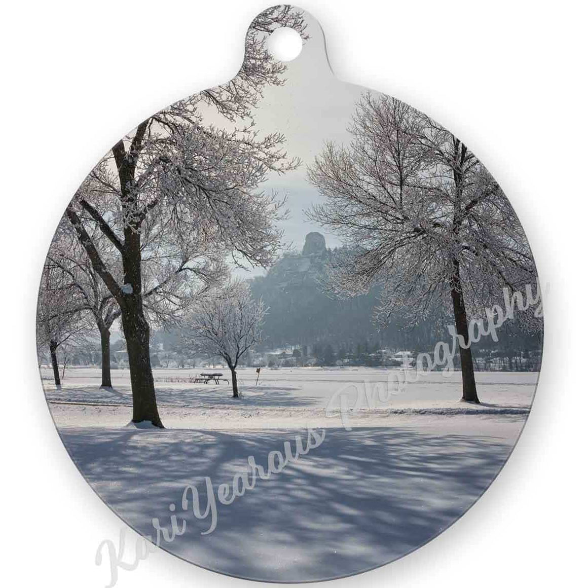 Ornament Metal Sugarloaf Between Frosty Trees - Kari Yearous Photography WinonaGifts KetoGifts LoveDecorah