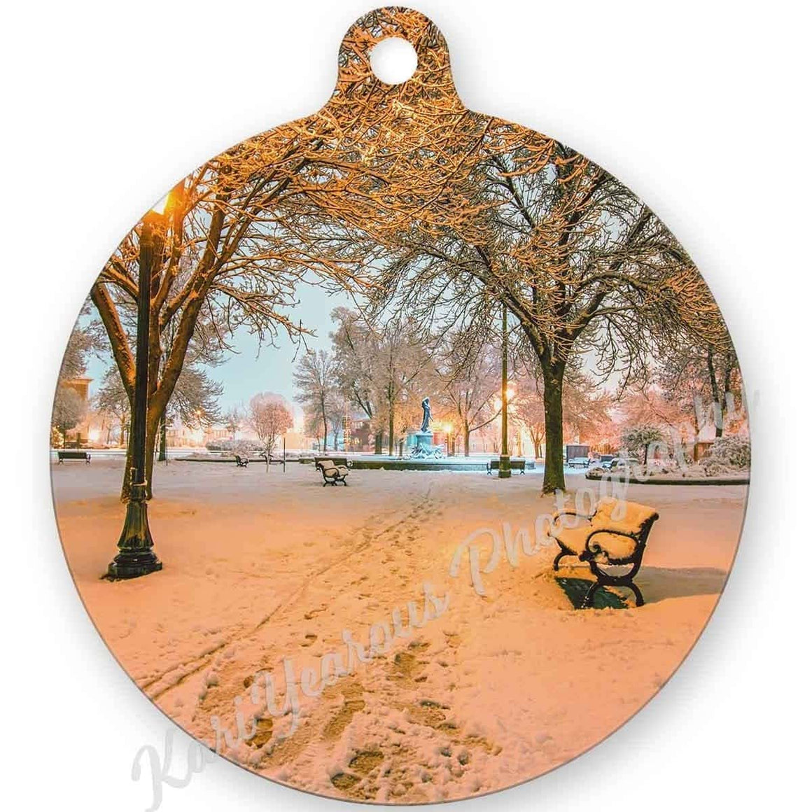 Ornament - Metal - Snowy Path to Wenonah - Kari Yearous Photography WinonaGifts KetoGifts LoveDecorah